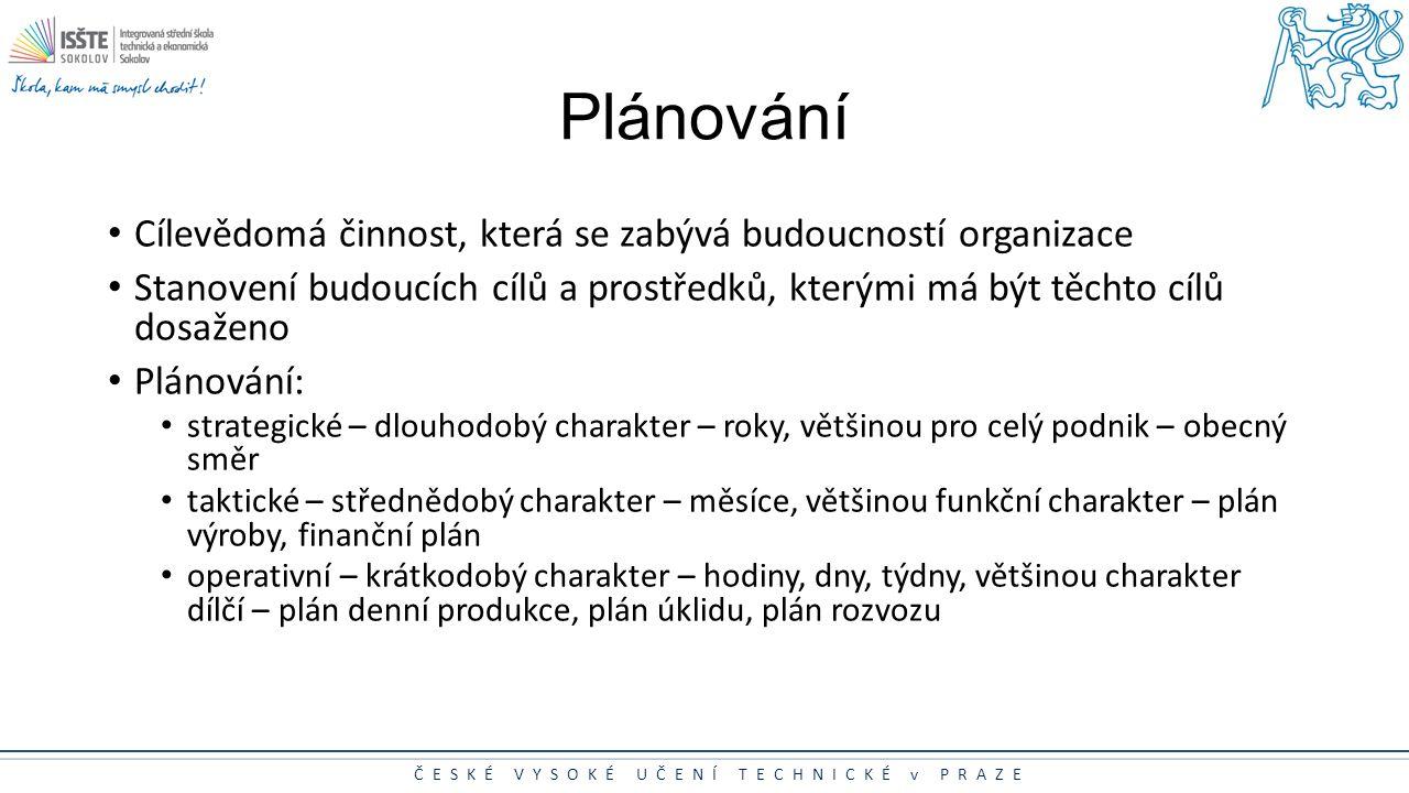 Plánování Cílevědomá činnost, která se zabývá budoucností organizace