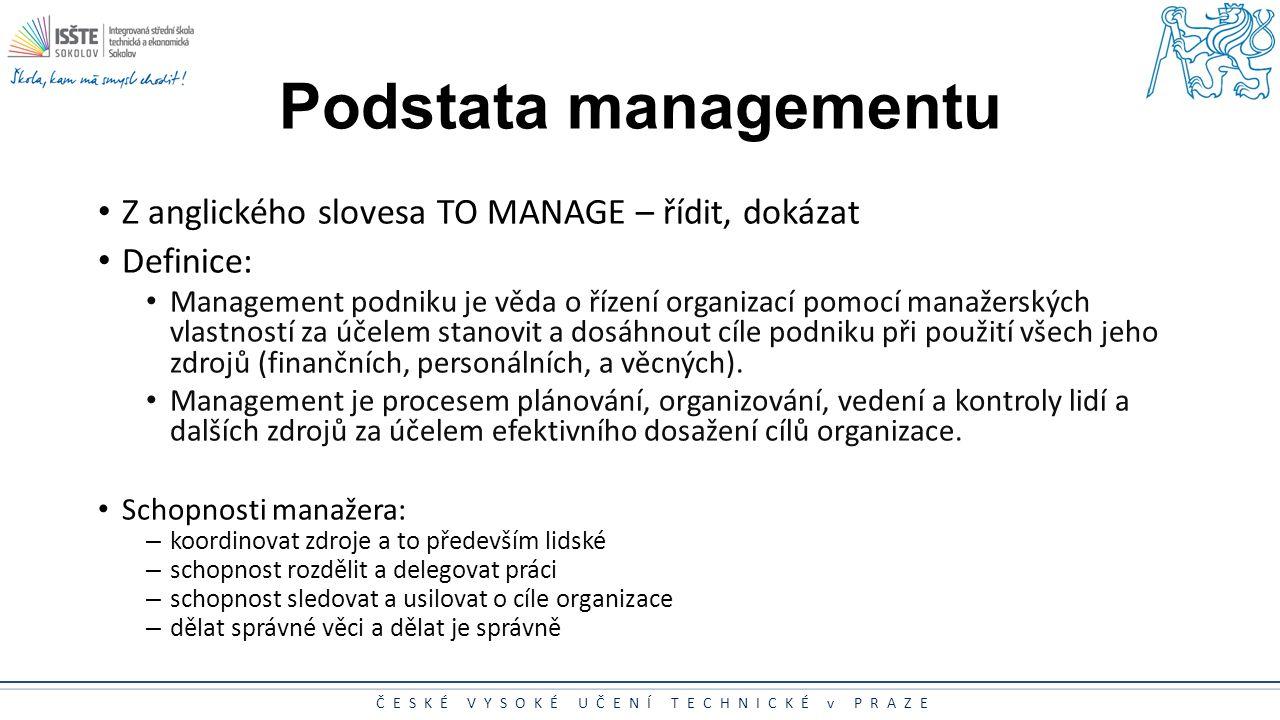Podstata managementu Z anglického slovesa TO MANAGE – řídit, dokázat