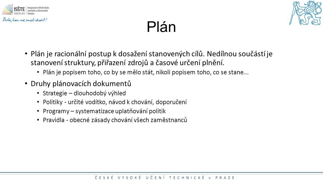 Plán Plán je racionální postup k dosažení stanovených cílů. Nedílnou součástí je stanovení struktury, přiřazení zdrojů a časové určení plnění.