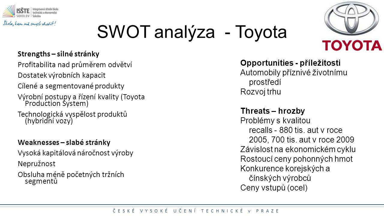 SWOT analýza - Toyota Strengths – silné stránky
