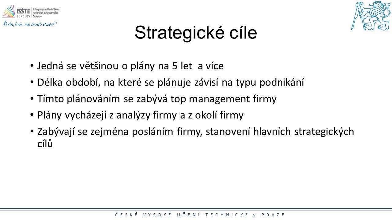 Strategické cíle Jedná se většinou o plány na 5 let a více