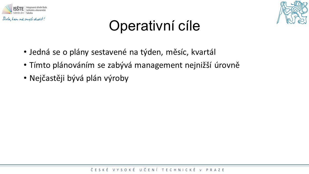 Operativní cíle Jedná se o plány sestavené na týden, měsíc, kvartál