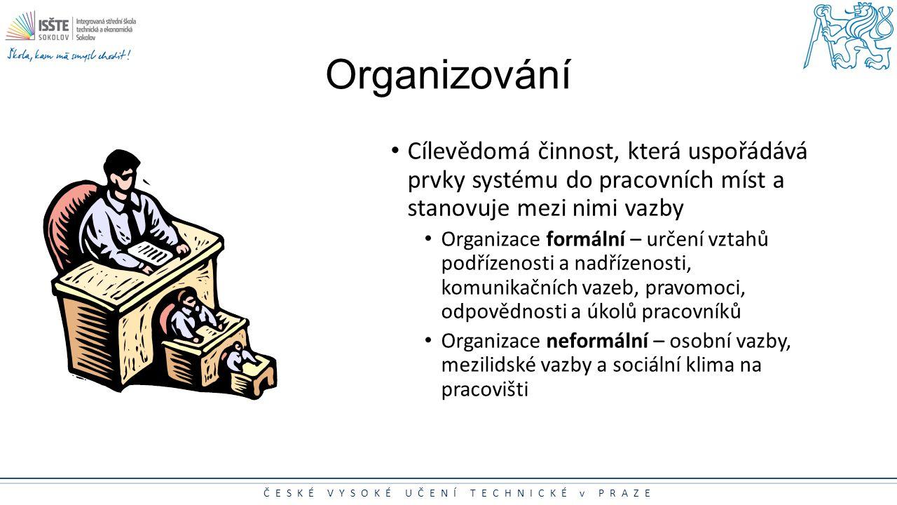 Organizování Cílevědomá činnost, která uspořádává prvky systému do pracovních míst a stanovuje mezi nimi vazby.
