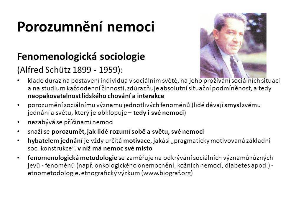 Porozumnění nemoci Fenomenologická sociologie