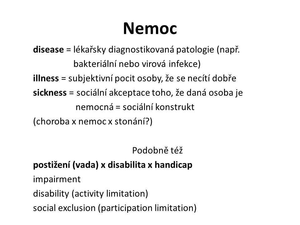Nemoc disease = lékařsky diagnostikovaná patologie (např.