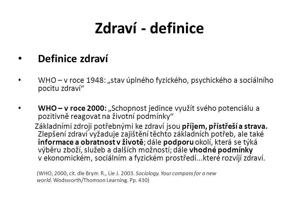 Zdraví - definice Definice zdraví