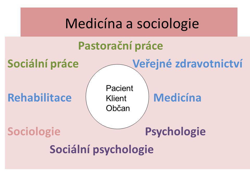 Medicína a sociologie Pastorační práce