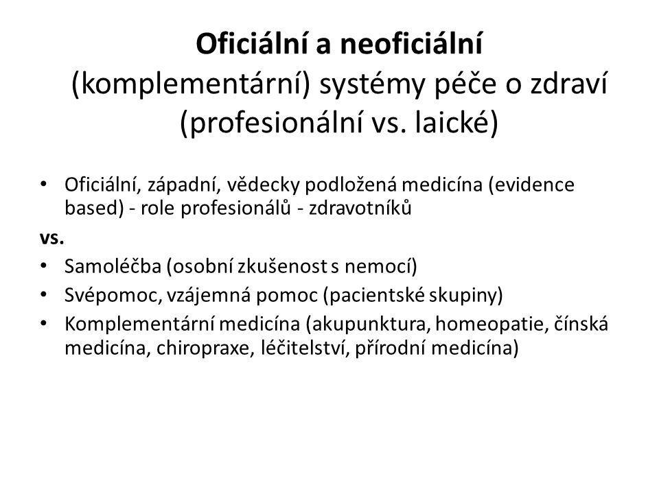 Oficiální a neoficiální (komplementární) systémy péče o zdraví (profesionální vs. laické)
