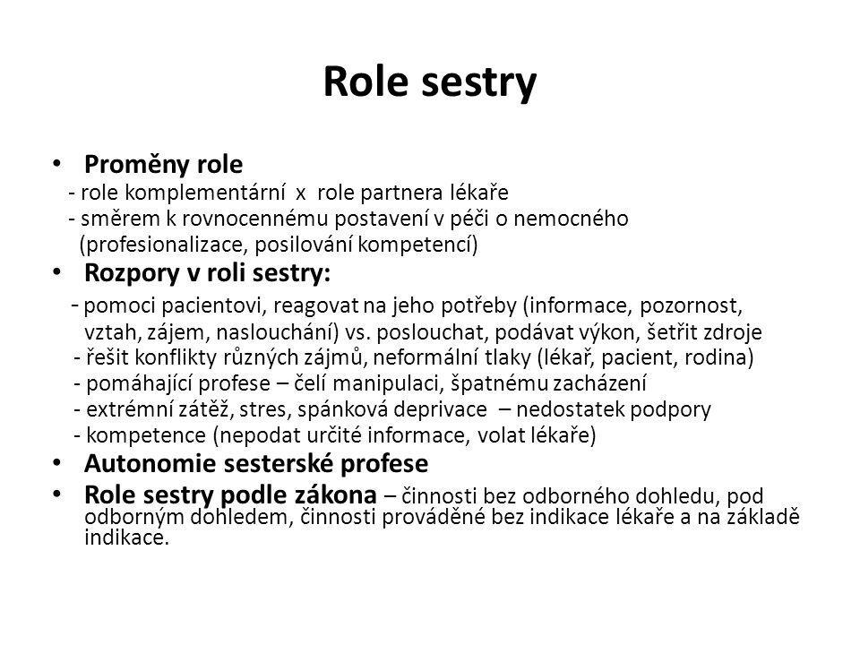 Role sestry Proměny role Rozpory v roli sestry: