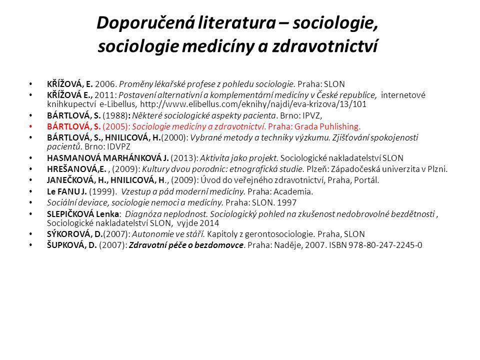 Doporučená literatura – sociologie, sociologie medicíny a zdravotnictví