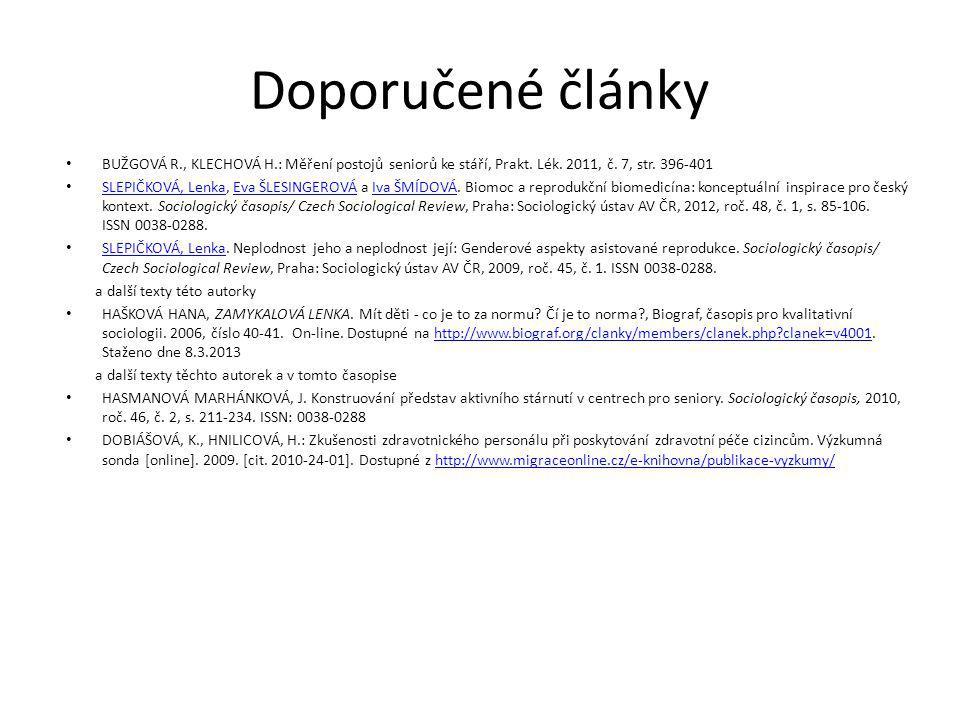 Doporučené články BUŽGOVÁ R., KLECHOVÁ H.: Měření postojů seniorů ke stáří, Prakt. Lék. 2011, č. 7, str. 396-401.