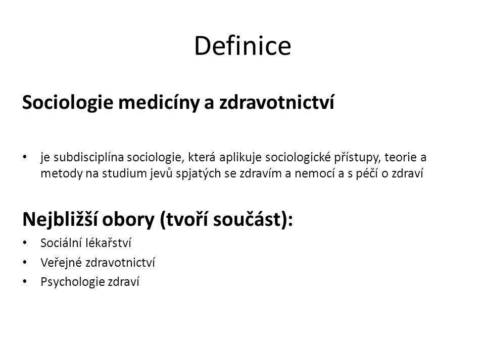 Definice Sociologie medicíny a zdravotnictví