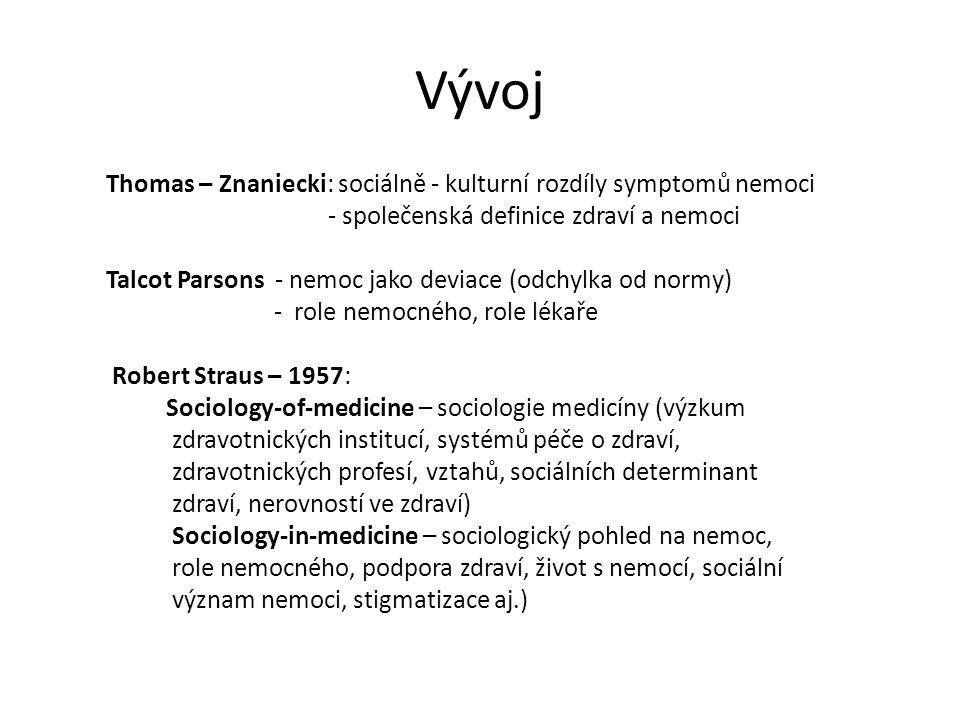 Vývoj Thomas – Znaniecki: sociálně - kulturní rozdíly symptomů nemoci