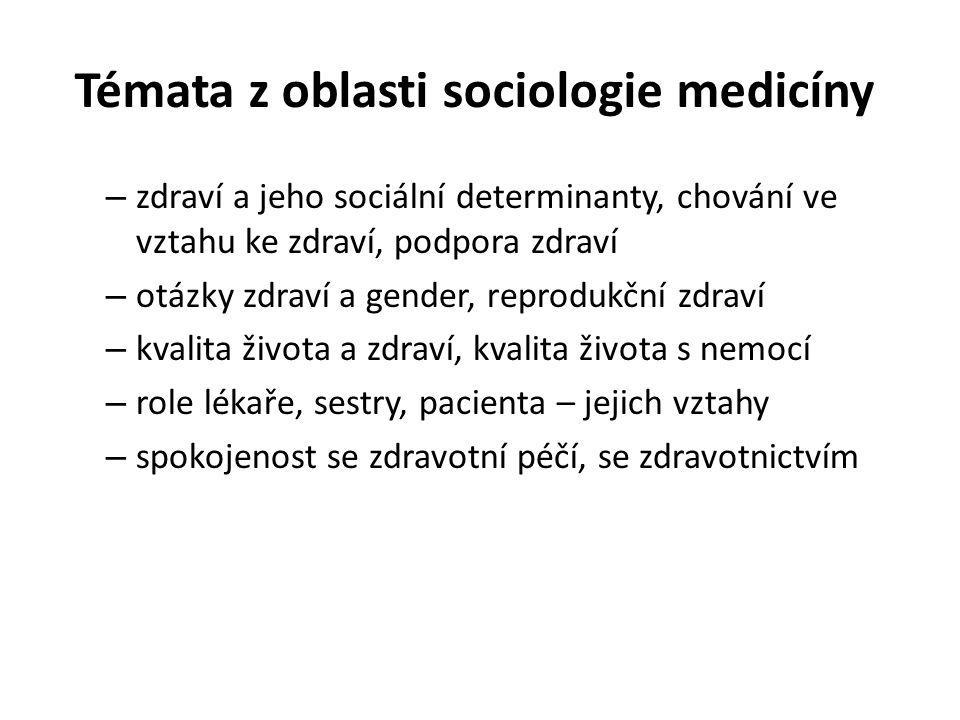 Témata z oblasti sociologie medicíny