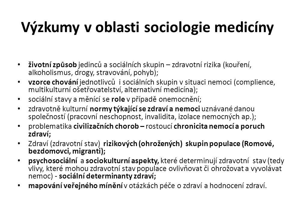 Výzkumy v oblasti sociologie medicíny