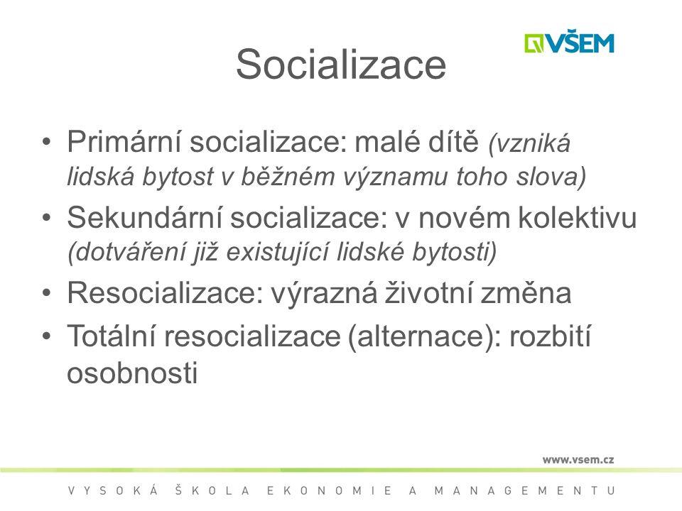 Socializace Primární socializace: malé dítě (vzniká lidská bytost v běžném významu toho slova)