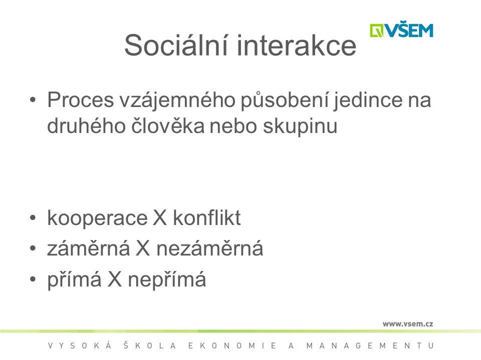 Sociální interakce Proces vzájemného působení jedince na druhého člověka nebo skupinu. kooperace X konflikt.