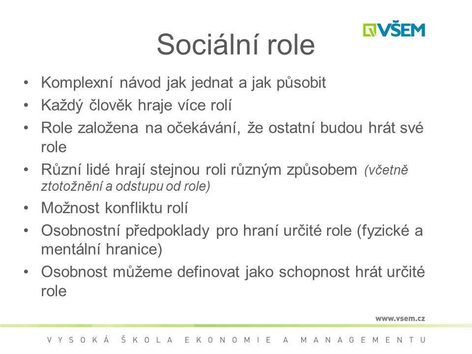 Sociální role Komplexní návod jak jednat a jak působit