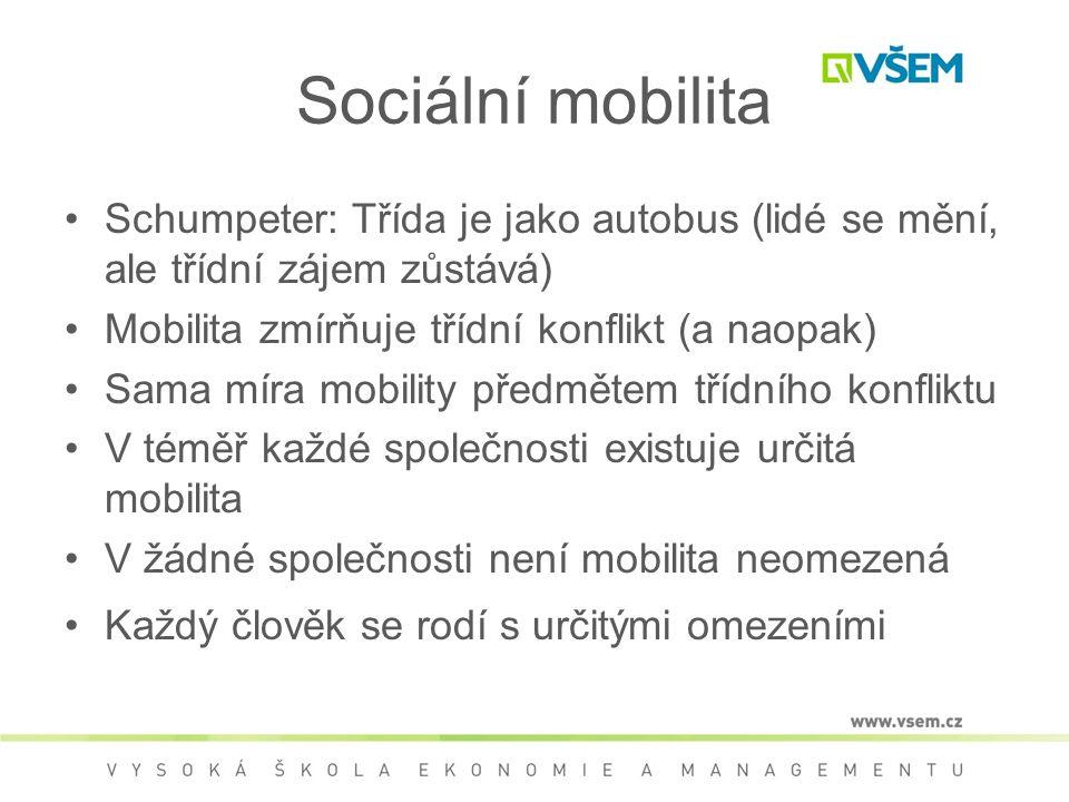 Sociální mobilita Schumpeter: Třída je jako autobus (lidé se mění, ale třídní zájem zůstává) Mobilita zmírňuje třídní konflikt (a naopak)