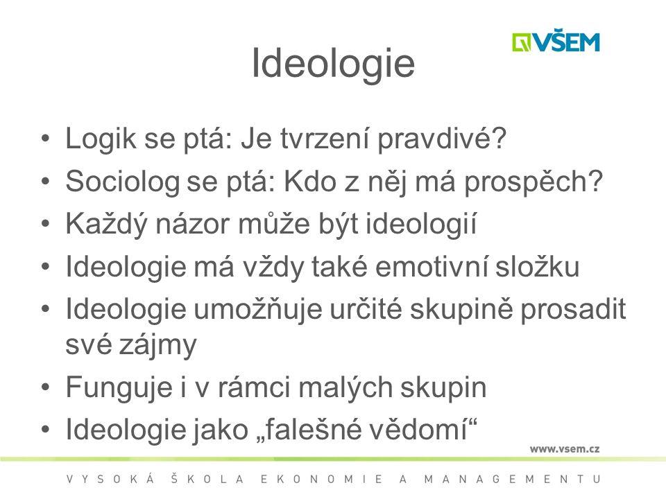 Ideologie Logik se ptá: Je tvrzení pravdivé