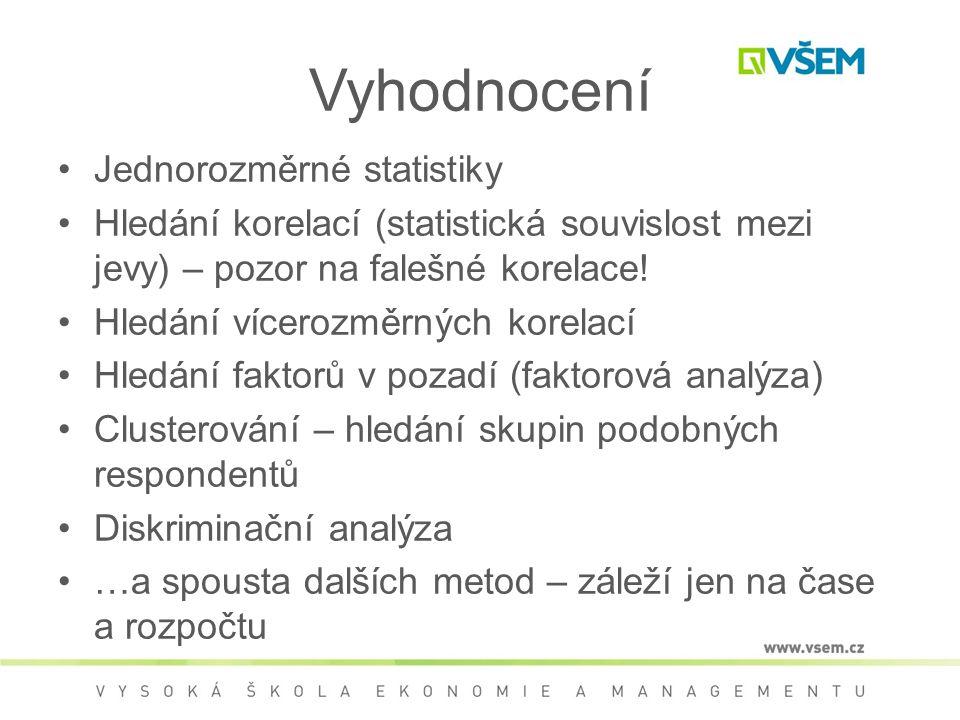 Vyhodnocení Jednorozměrné statistiky