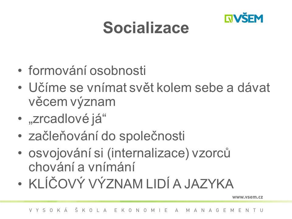 Socializace formování osobnosti