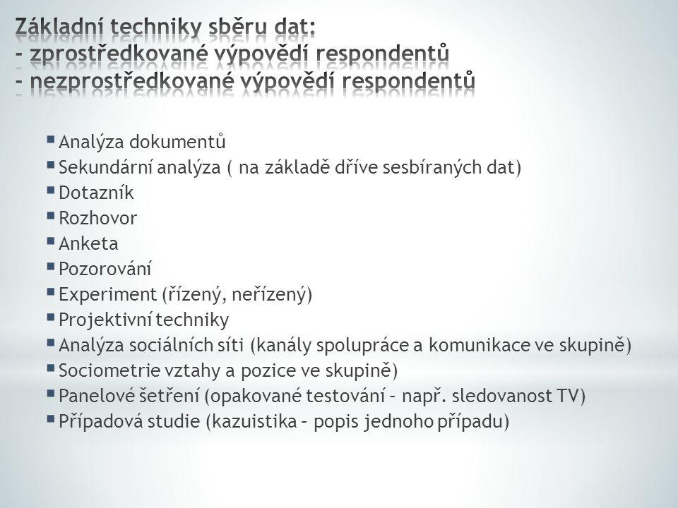 Základní techniky sběru dat: - zprostředkované výpovědí respondentů - nezprostředkované výpovědí respondentů