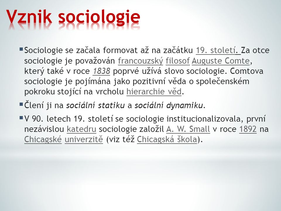 Vznik sociologie