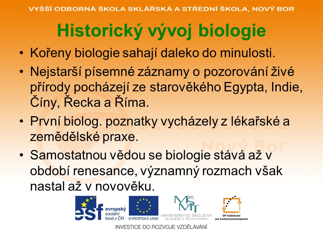 Historický vývoj biologie