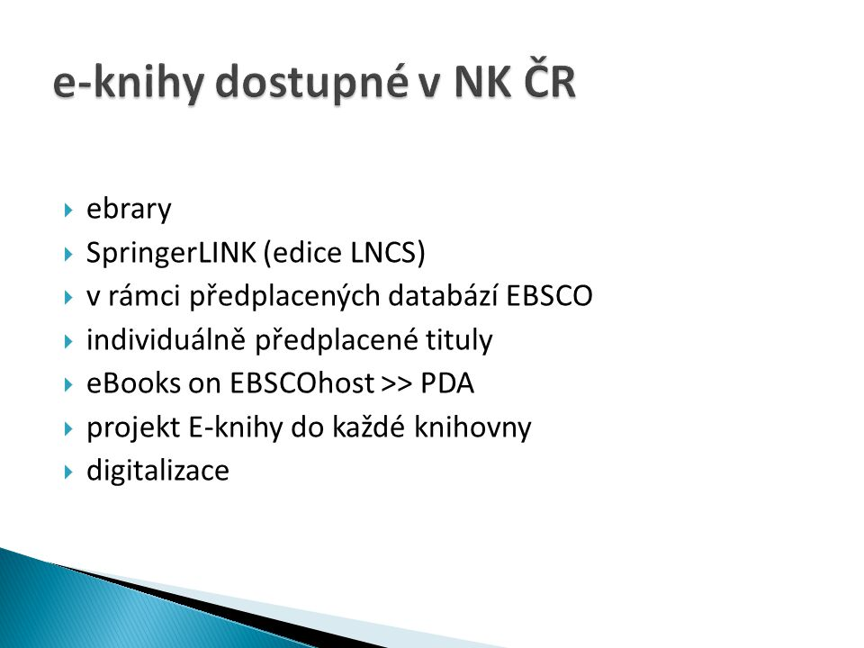 e-knihy dostupné v NK ČR