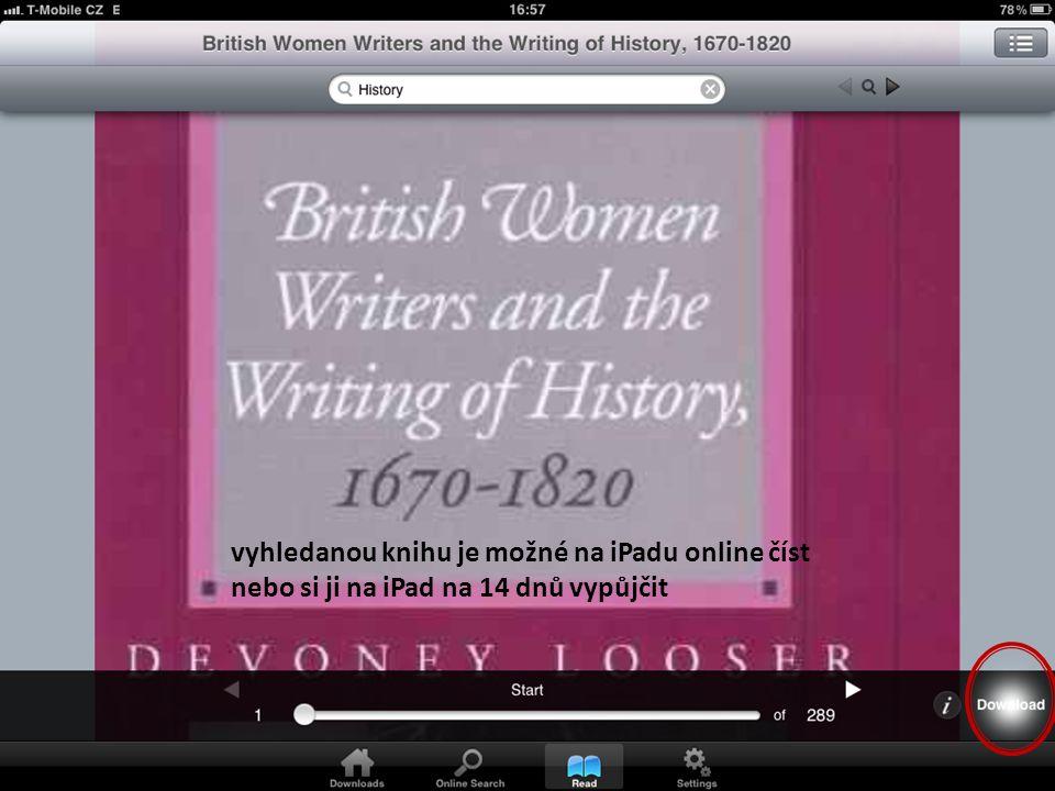 vyhledanou knihu je možné na iPadu online číst nebo si ji na iPad na 14 dnů vypůjčit