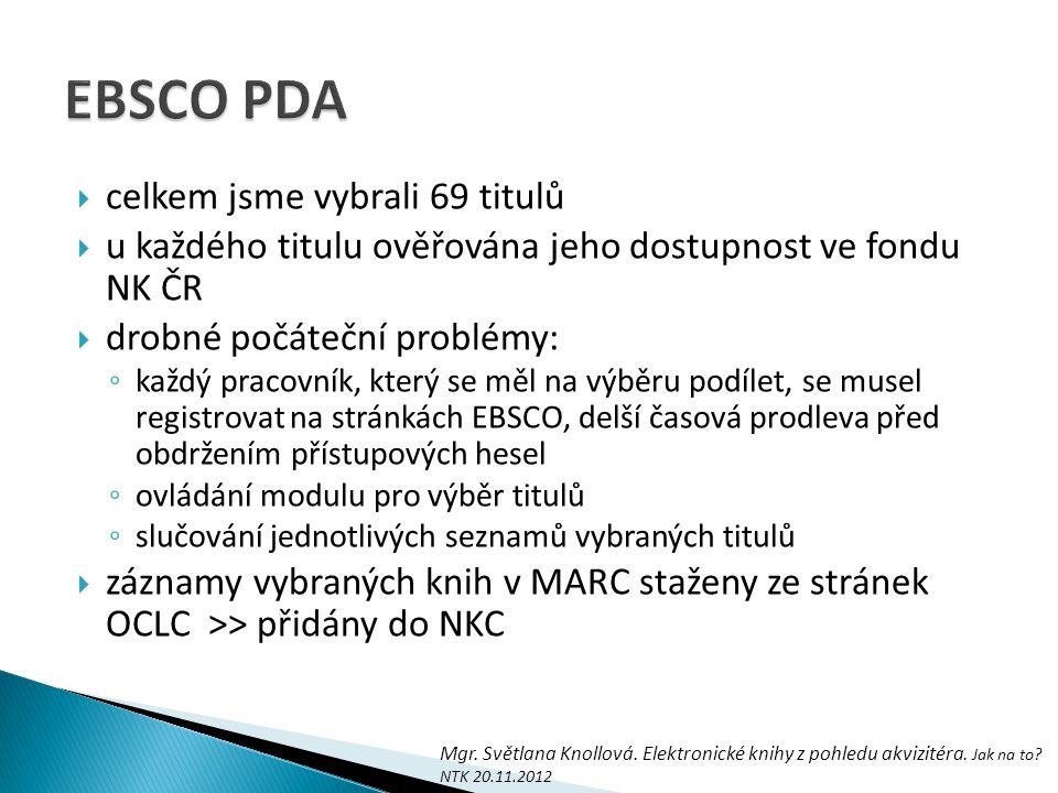 EBSCO PDA celkem jsme vybrali 69 titulů