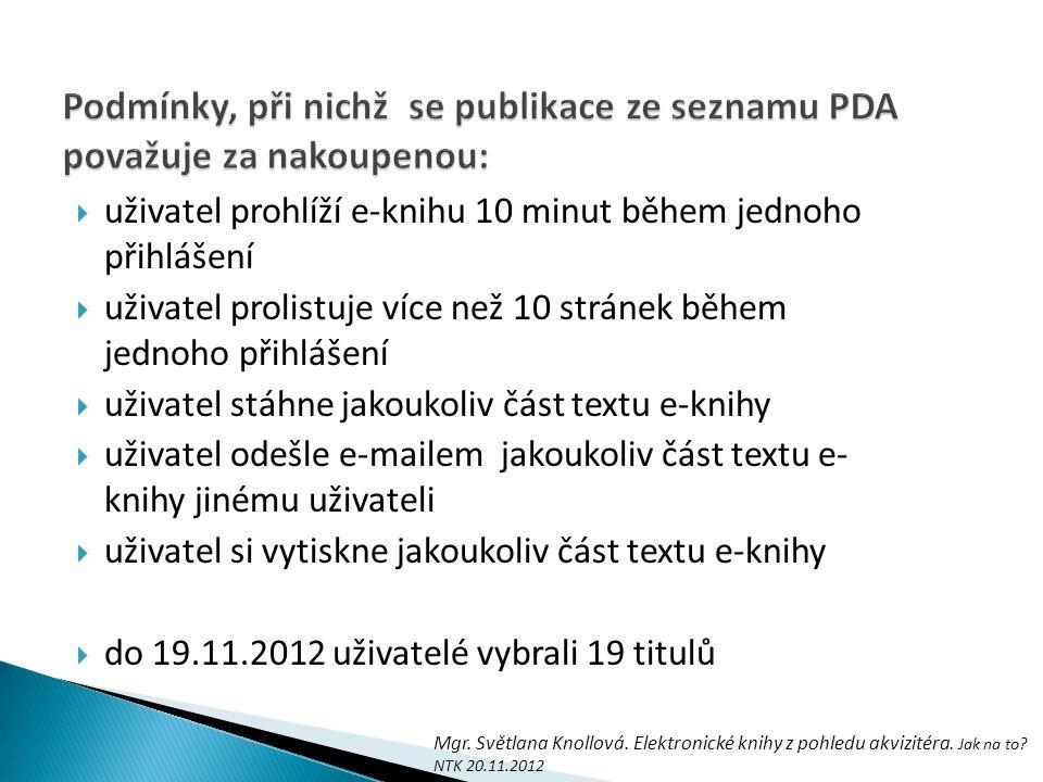 Podmínky, při nichž se publikace ze seznamu PDA považuje za nakoupenou: