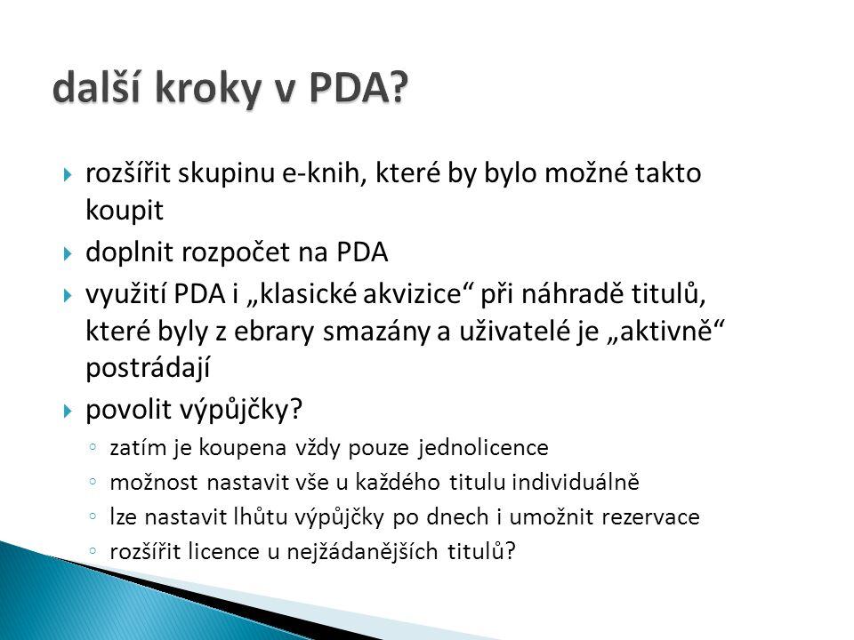 další kroky v PDA rozšířit skupinu e-knih, které by bylo možné takto koupit. doplnit rozpočet na PDA.