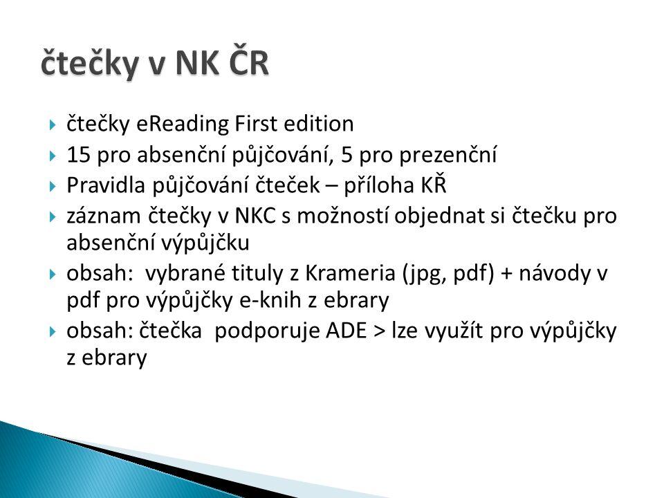 čtečky v NK ČR čtečky eReading First edition