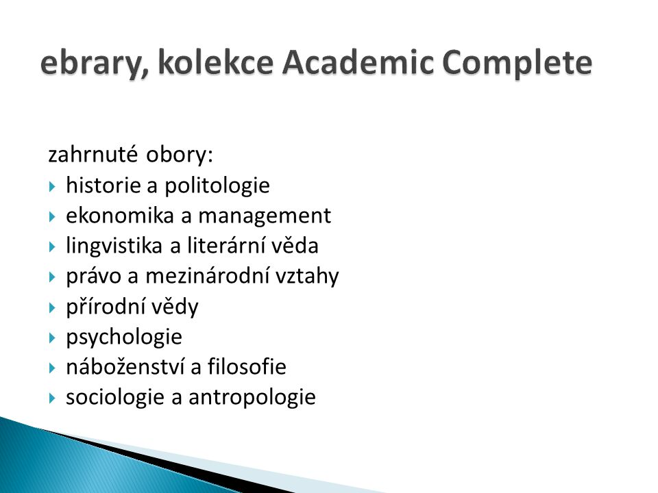 ebrary, kolekce Academic Complete