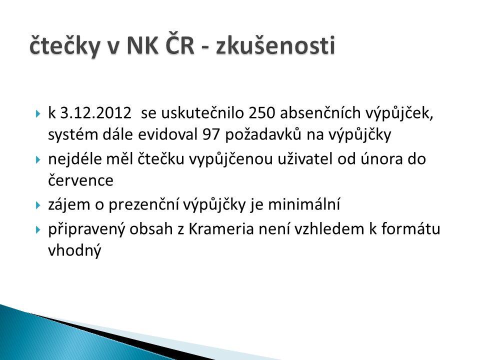 čtečky v NK ČR - zkušenosti