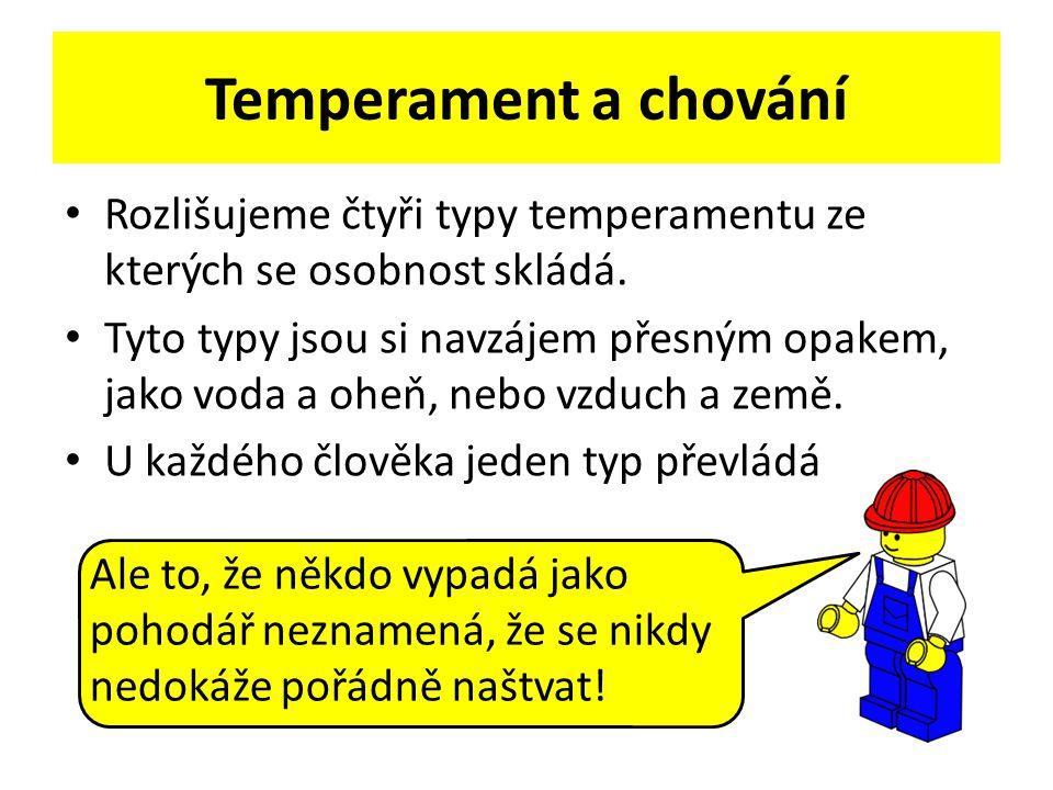 Temperament a chování Rozlišujeme čtyři typy temperamentu ze kterých se osobnost skládá.