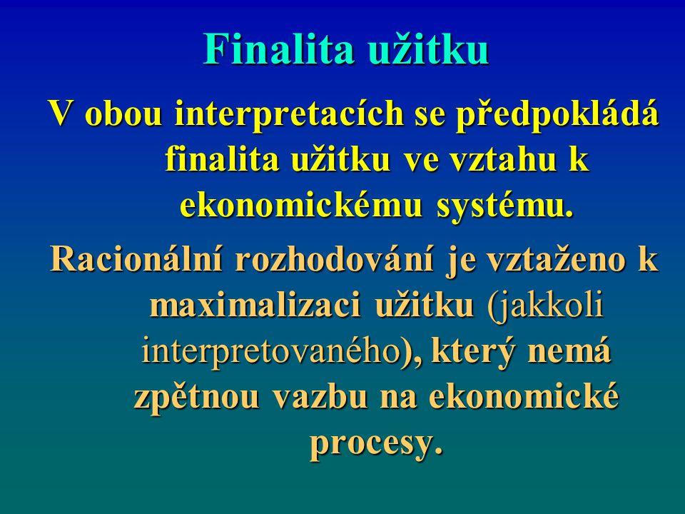 Finalita užitku V obou interpretacích se předpokládá finalita užitku ve vztahu k ekonomickému systému.