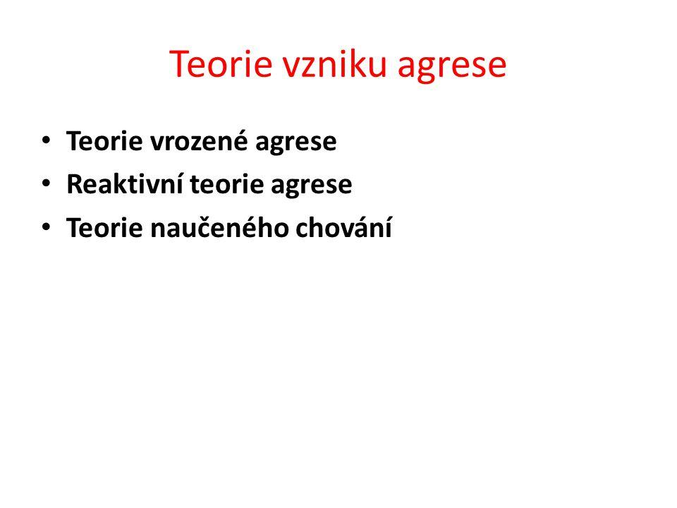 Teorie vzniku agrese Teorie vrozené agrese Reaktivní teorie agrese