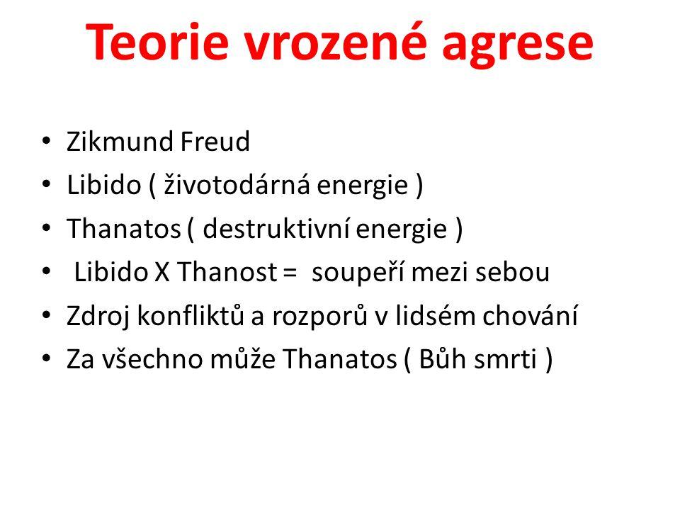 Teorie vrozené agrese Zikmund Freud Libido ( životodárná energie )
