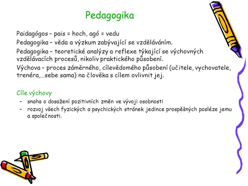 Pedagogika Paidagógos – pais = hoch, agó = vedu