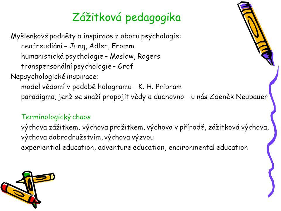 Zážitková pedagogika Myšlenkové podněty a inspirace z oboru psychologie: neofreudiáni – Jung, Adler, Fromm.