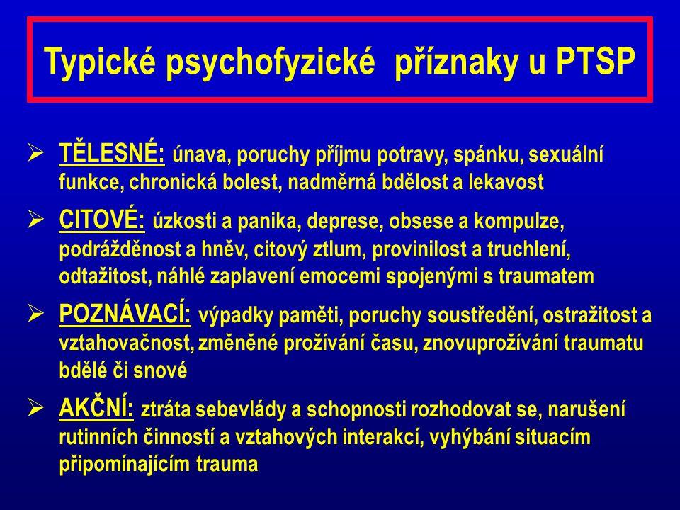 Typické psychofyzické příznaky u PTSP