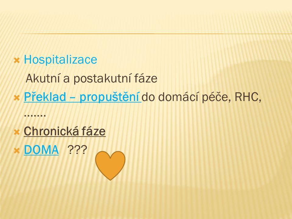 Hospitalizace Akutní a postakutní fáze. Překlad – propuštění do domácí péče, RHC, ……. Chronická fáze.