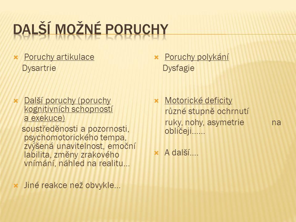 Další možné poruchy Poruchy artikulace Dysartrie