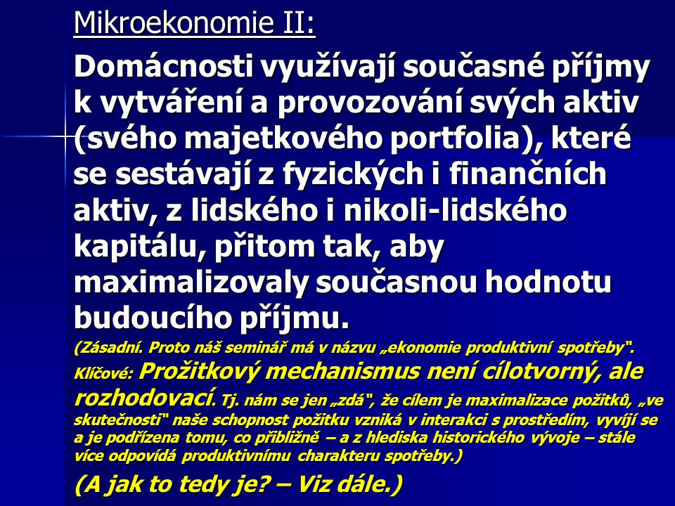 Mikroekonomie II: