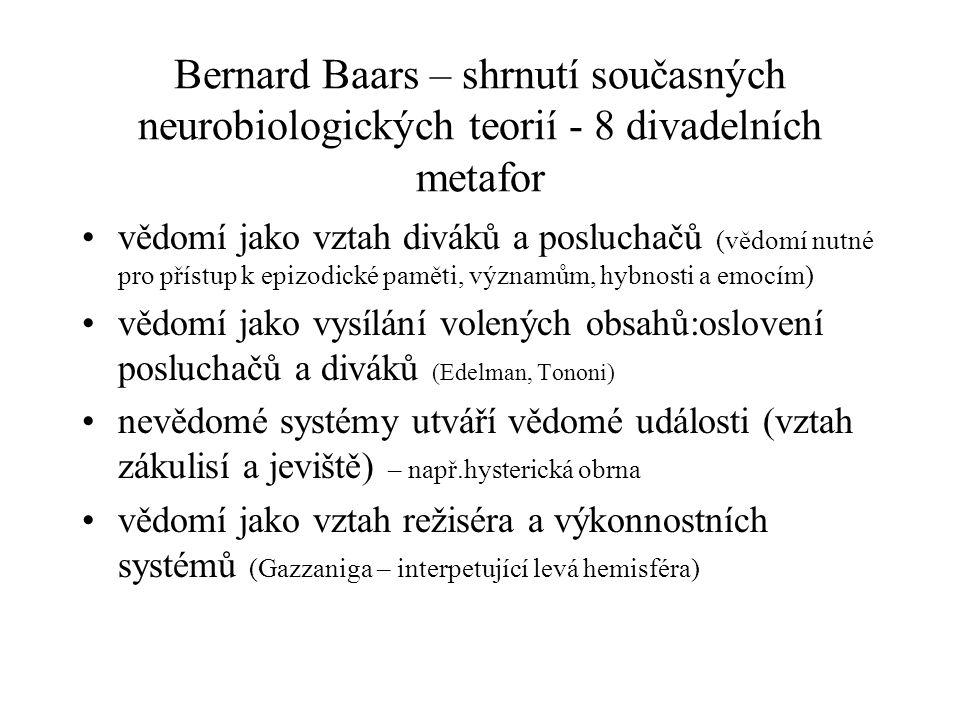 Bernard Baars – shrnutí současných neurobiologických teorií - 8 divadelních metafor