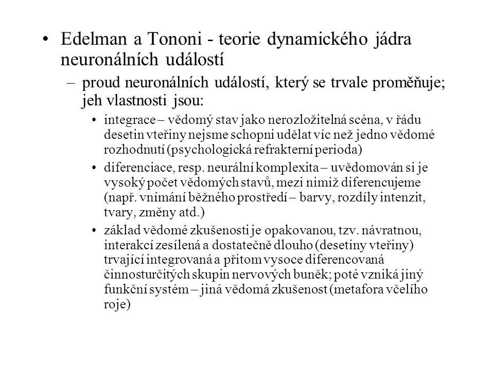 Edelman a Tononi - teorie dynamického jádra neuronálních událostí