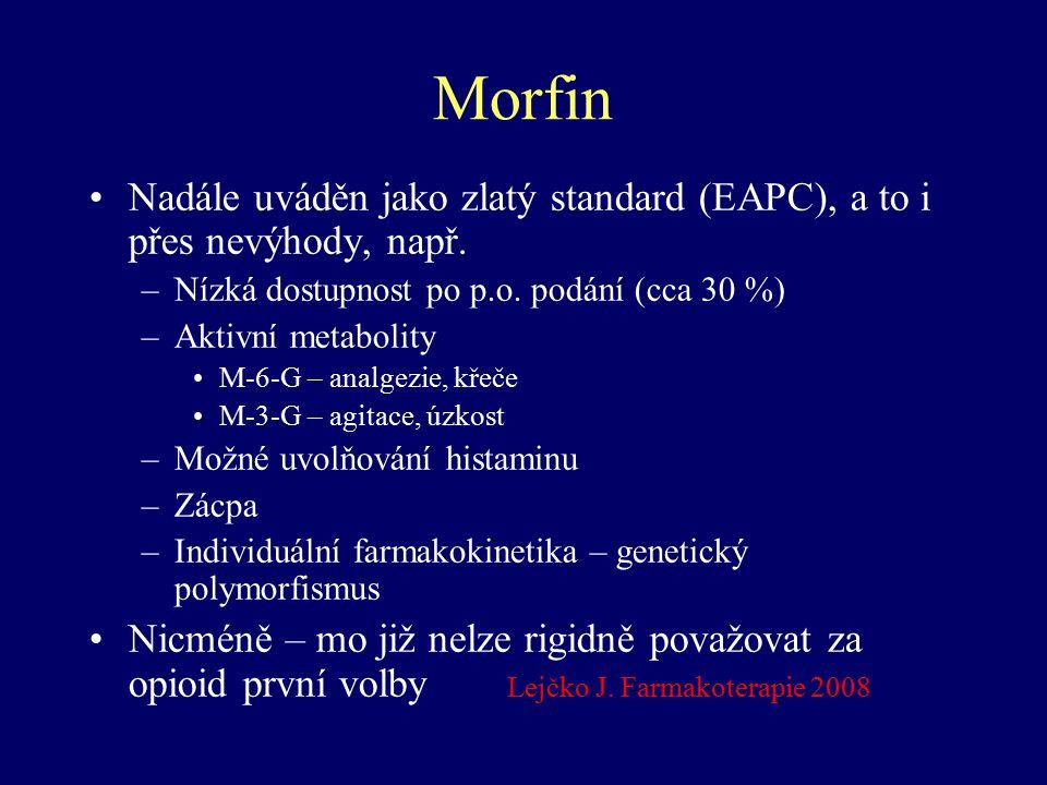 Morfin Nadále uváděn jako zlatý standard (EAPC), a to i přes nevýhody, např. Nízká dostupnost po p.o. podání (cca 30 %)